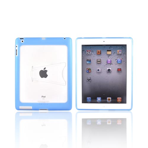 Apple iPad 2 Hard Back w/ Gummy Border & Stand Case - Baby Blue/ Clear