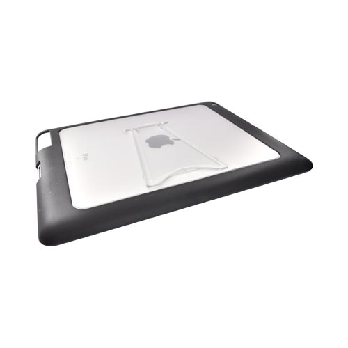 Apple iPad 2 Hard Back w/ Gummy Border and Stand Case - Clear/Black