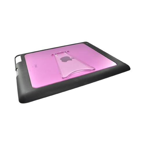 Apple iPad 2 Hard Back w/ Gummy Border and Stand Case - Clear/Hot Pink