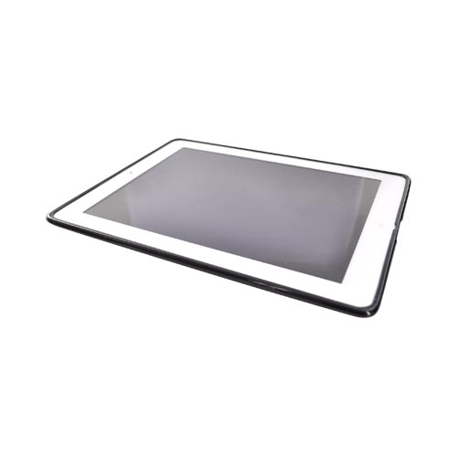 Apple iPad 2 Hard Back w/ Gummy Border and Stand Case - Clear/Smoke