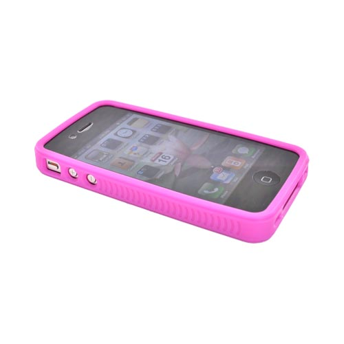 Luxmo Apple iPhone 4 Hard Case w/ Gummy Silicone Border - Hot Pink and Frost White