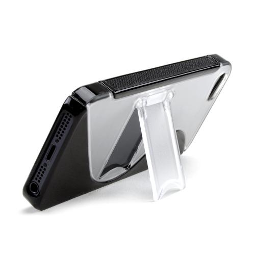 Apple iPhone 5/5S Hard Back w/ Crystal Silicone Lining & Kickstand - Black/ Frost White