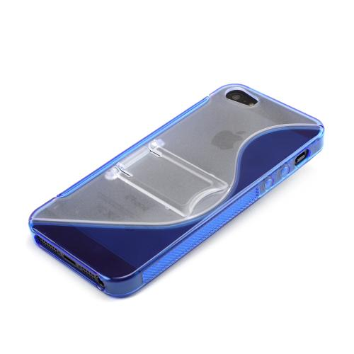 Apple iPhone SE / 5 / 5S  Case,  [Blue/ Frost White]  Hard Back w/ Crystal Silicone Lining & Kickstand