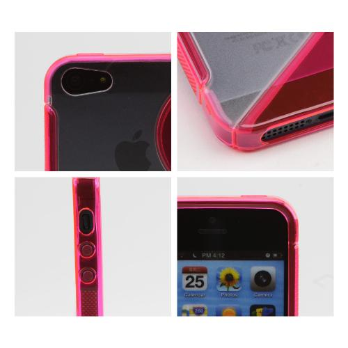 Apple iPhone SE / 5 / 5S  Case,  [Hot Pink/ Frost White]  Hard Back w/ Crystal Silicone Lining & Kickstand