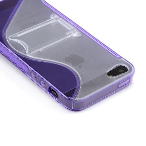 Apple iPhone SE / 5 / 5S  Case,  [Purple/ Frost White]  Hard Back w/ Crystal Silicone Lining & Kickstand