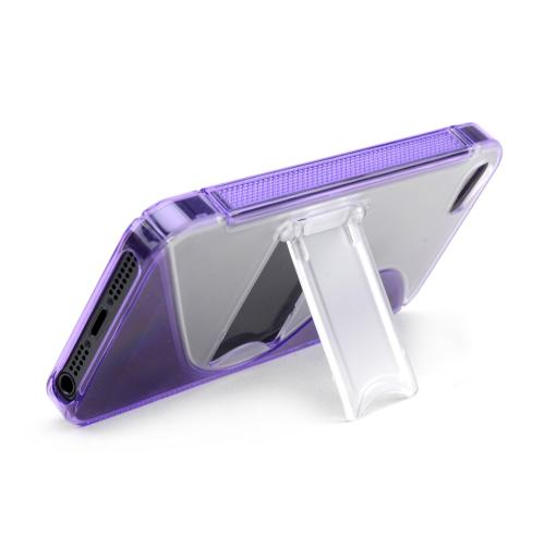 Apple iPhone 5/5S Hard Back w/ Crystal Silicone Lining & Kickstand - Purple/ Frost White