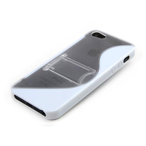 Apple iPhone 5/5S Hard Back w/ Crystal Silicone Lining & Kickstand - White/ Frost White