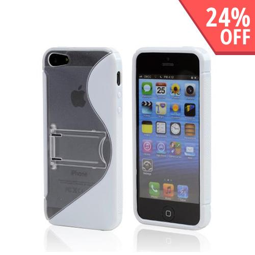Apple iPhone SE / 5 / 5S  Case,  [White/ Frost White]  Hard Back w/ Crystal Silicone Lining & Kickstand