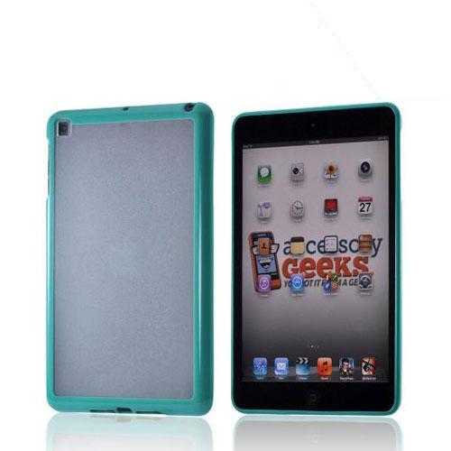 Turquoise/ Clear Hard Case w/ Crystal Silicone Border for Apple iPad Mini