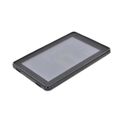 Amazon Kindle Fire Hard Back w/ Dimples, Crystal Silicone Border, & Stand Case - Black/ Clear