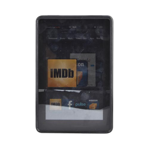 Amazon Kindle Fire Hard Back w/ Dimples, Crystal Silicone Border, & Stand Case - Black/ Transparent Smoke