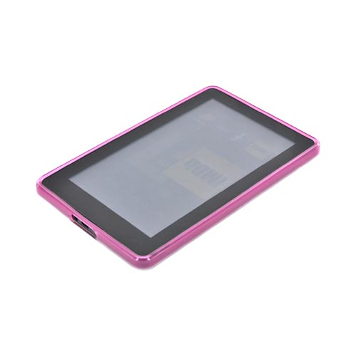Amazon Kindle Fire Hard Back w/ Dimples, Crystal Silicone Border, & Stand Case - Pink/ Clear