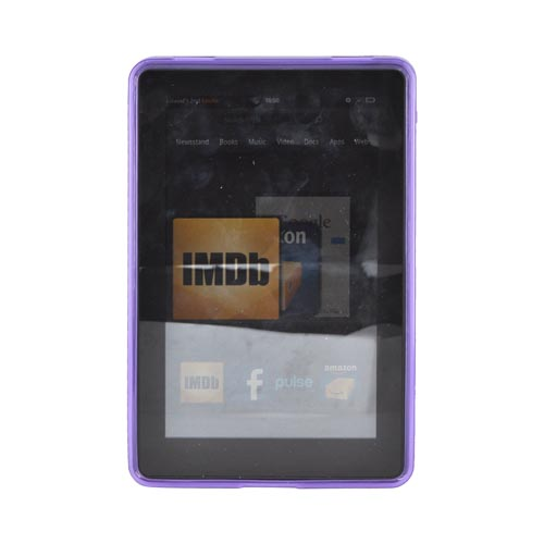 Amazon Kindle Fire Hard Back w/ Dimples, Crystal Silicone Border, & Stand Case - Purple/ Clear