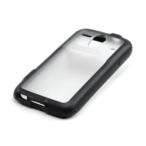 Clear Hard Back w/ Black Crystal Silicone Border for Kyocera Hydro Edge