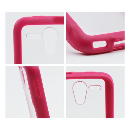 Clear Hard Back w/ Pink Crystal Silicone Border for Kyocera Hydro Edge