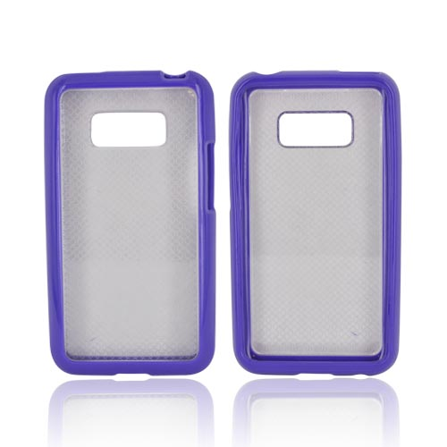 LG Optimus Elite Hard Back Case w/ Gummy Crystal Silicone Lining - Purple/ Frost White