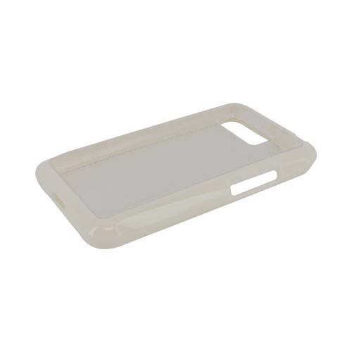 LG Optimus Elite Hard Back Case w/ Gummy Crystal Silicone Lining - White/ Frost White