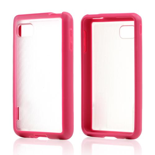 Clear Hard Back w/ Hot Pink Crystal Silicone Skin Border for LG Optimus F3