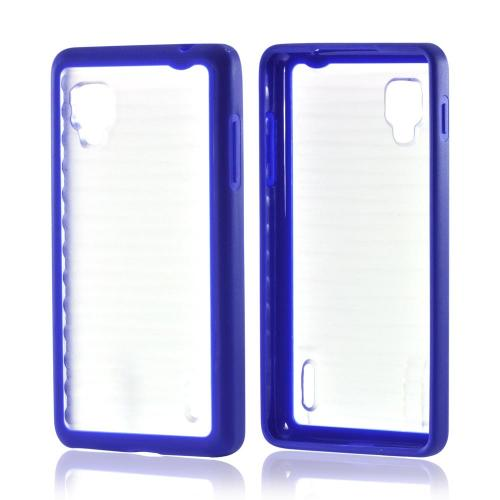 Hard Back w/ Gummy Silicone Border Blue/ Clear for LG Optimus G Sprint