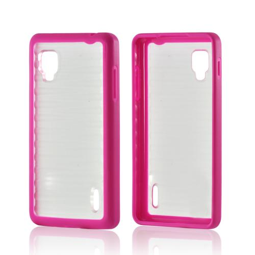 Hot Pink/ Clear Hard Case w/ Gummy Silicone Border for LG Optimus G (Sprint)