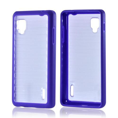 Hard Back w/ Gummy Silicone Border Purple/ Clear for LG Optimus G Sprint