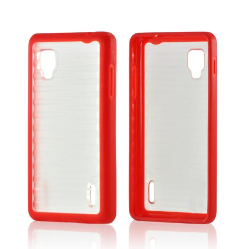 Red/ Clear Hard Case w/ Gummy Silicone Border for LG Optimus G (Sprint)
