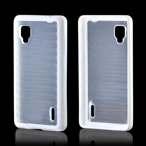 Hard Back w/ Gummy Silicone Border White/ Clear for LG Optimus G Sprint