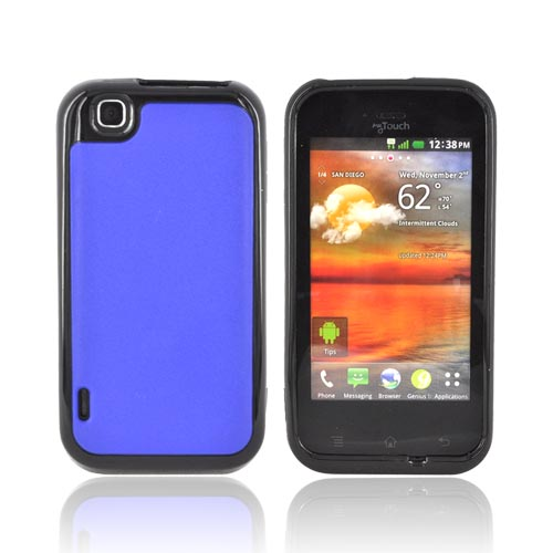 T-Mobile MyTouch Hard Back Case w/ Crystal Silicone Border - Blue/ Black