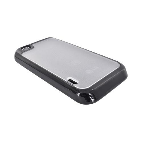 LG Mytouch Hard Case w/ Gummy Silicone Border - Black and Frost White