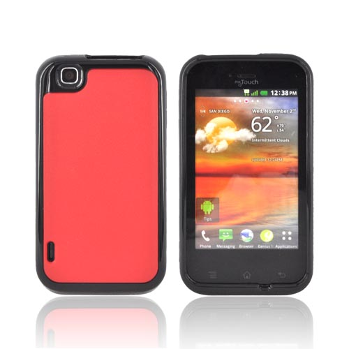 T-Mobile MyTouch Hard Back Case w/ Crystal Silicone Border - Red/ Black