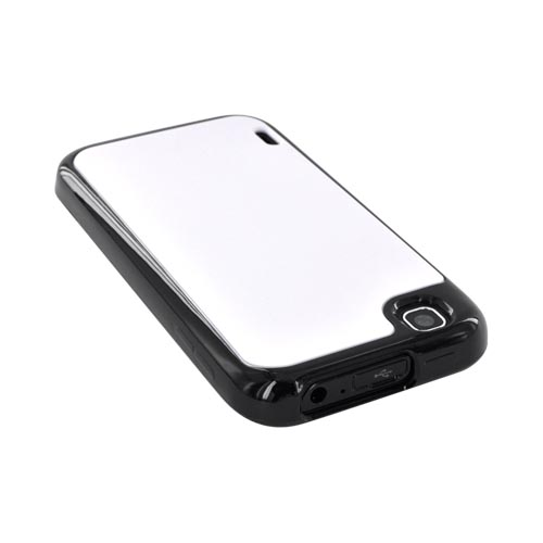 T-Mobile MyTouch Hard Back Case w/ Crystal Silicone Border - Solid White/ Black