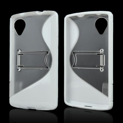 Clear/ White S Design Crystal Silicone Skin & Hard Back Case w/ Kickstand for LG Google Nexus 5