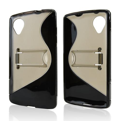 Smoke/ Black S Design Crystal Silicone Skin & Hard Back Case w/ Kickstand for LG Google Nexus 5