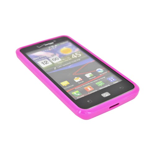 LG Spectrum Hard Back w/ Crystal Silicone Border - Hot Pink/ Clear