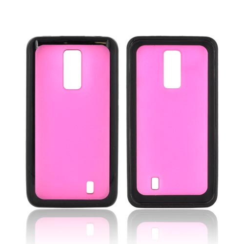 LG Spectrum Hard Back w/ Gummy Silicone Border - Pink/ Black