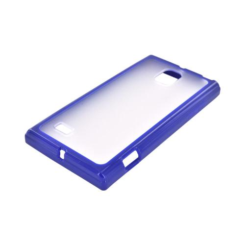 LG Optimus VS930 (Optimus LTE II) Hard Back Case w/ Gummy Crystal Silicone Lining - Blue/ Frost White