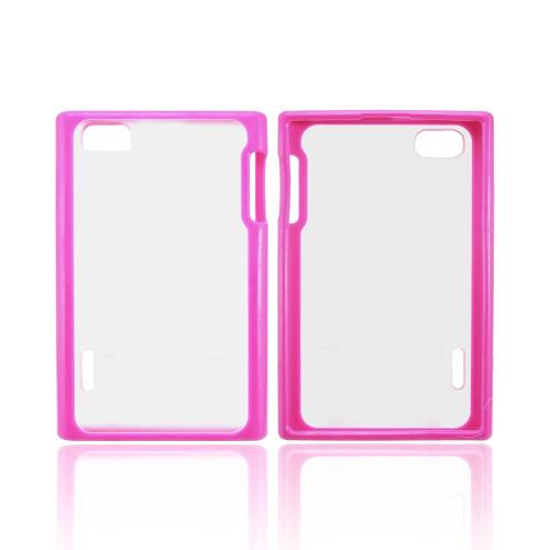 LG Intuition VS950 Hard Back Case w/ Gummy Crystal Silicone Lining - Pink/ Frost White