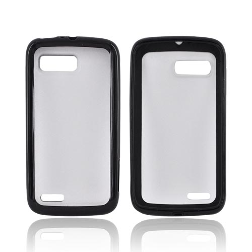 Motorola Atrix 2 Hard Back w/ Gummy Silicone Border - Black/ Frost White