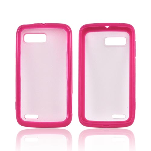Motorola Atrix 2 Hard Back w/ Gummy Silicone Border - Hot Pink/ Frost White