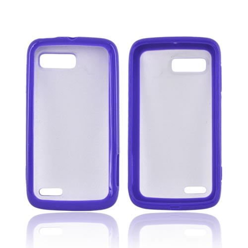 Motorola Atrix 2 Hard Back w/ Gummy Silicone Border - Purple/ Frost White