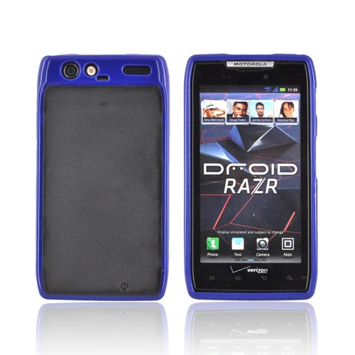 Motorola Droid RAZR Hard Back w/ Gummy Silicone Border - Blue/ Black