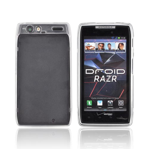 Motorola Droid RAZR Hard Back w/ Gummy Silicone Border - Clear/ Black