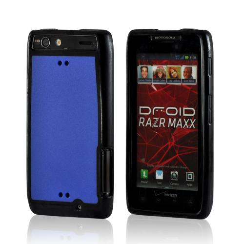 Black/ Blue Hard Back Case w/ Gummy Crystal Silicone Lining for Motorola Droid RAZR MAXX