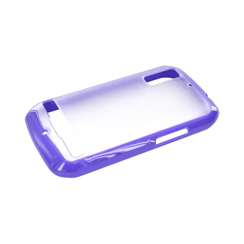 Motorola Photon 4G Hard Back Case w/ Gummy Silicone Lining - Purple/ Clear