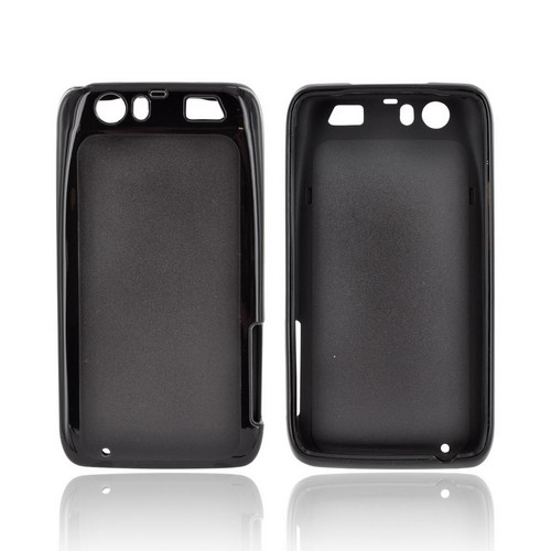 Motorola Atrix HD Hard Back Case w/ Gummy Crystal Silicone Lining - Black