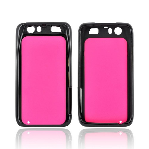 Motorola Atrix HD Hard Back Case w/ Gummy Crystal Silicone Lining - Hot Pink/ Black