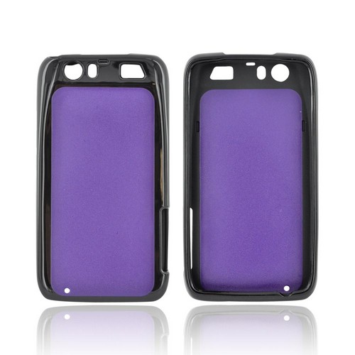 Motorola Atrix HD Hard Back Case w/ Gummy Crystal Silicone Lining - Purple/ Black