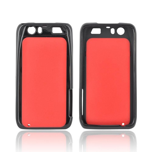 Motorola Atrix HD Hard Back Case w/ Gummy Crystal Silicone Lining - Red/ Black