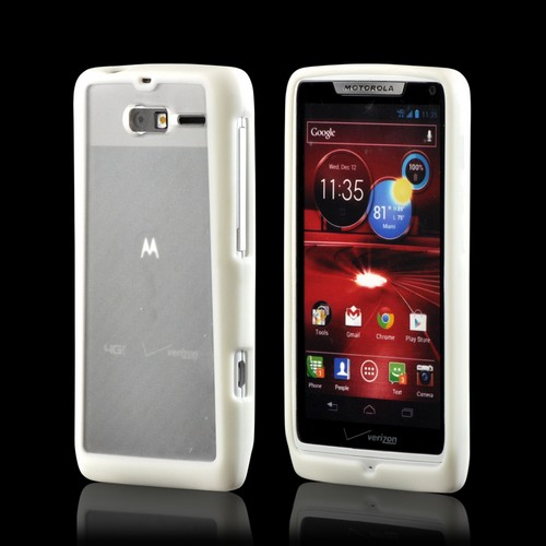 White/ Frost White Hard Case w/ Gummy Silicone Border for Motorola Droid RAZR M