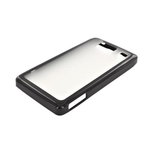 Motorola Droid RAZR HD Hard Back Case w/ Gummy Crystal Silicone Lining - Black/ Frost White